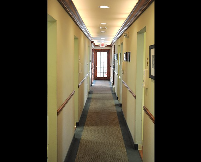 Hallway to dental exam rooms