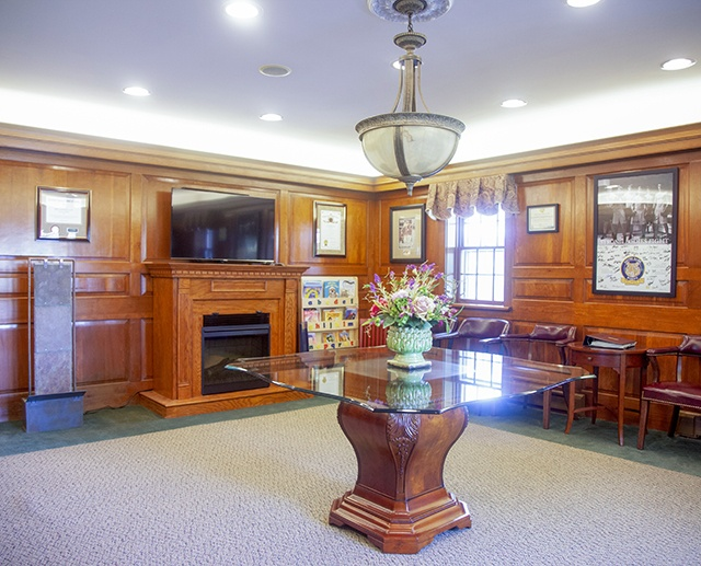 Open and bright dental reception area