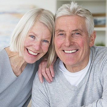 Older woman and man smiling together