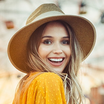 Woman with flawless smile